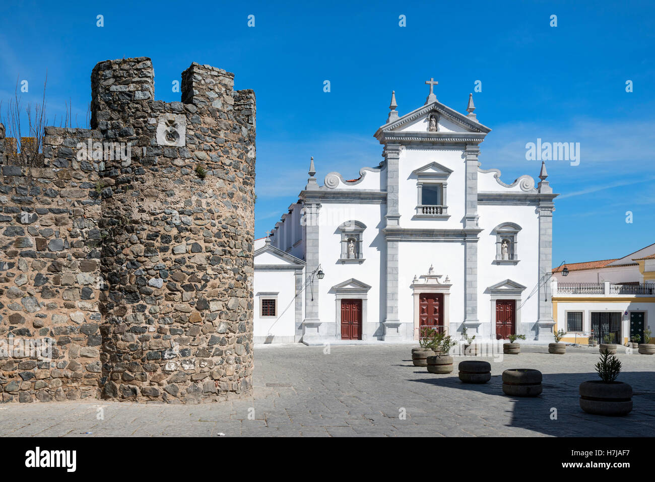 Da Sé, Beja Cathedral and Castle Walls, Alentejo, Portugal Stock Photo