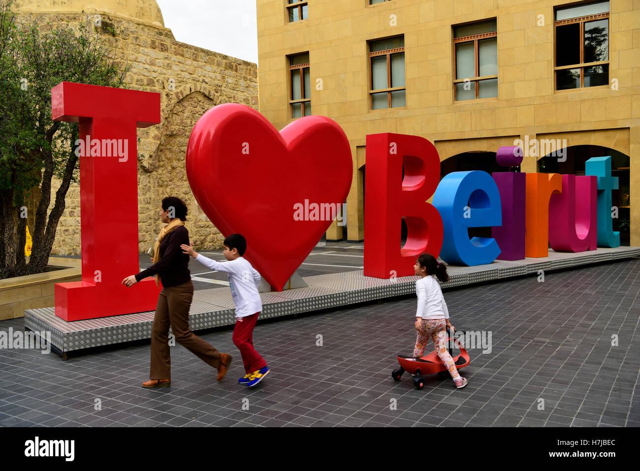 'I Love Beirut' installation, Downtown, Beirut, Lebanon. - Stock Image