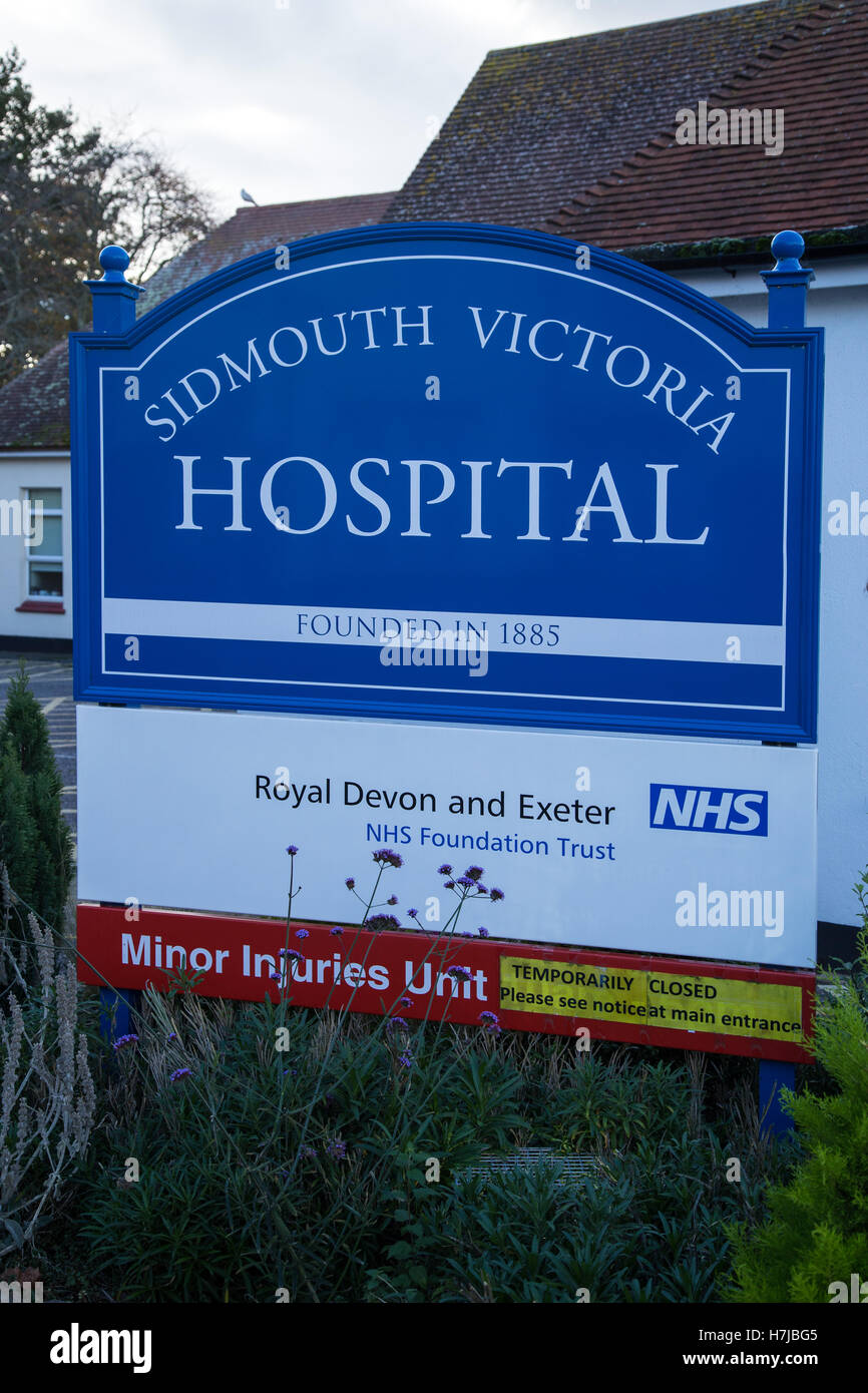 Sidmouth Victoria Hospital, in 2016. Currently threatened with closure of it's wards, in a town of predominantly - Stock Image