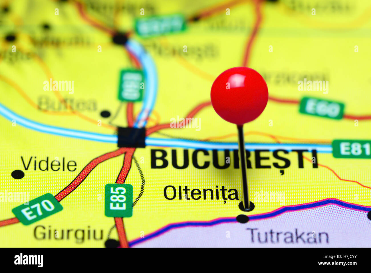 Oltenita pinned on a map of Romania Stock Photo: 125180495 ...