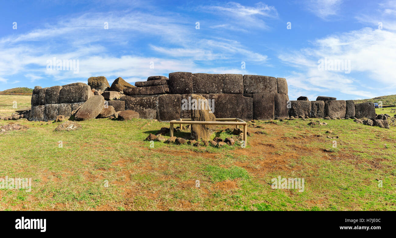 Moai statue ruins in Vaihu site, Easter Island, Chile - Stock Image