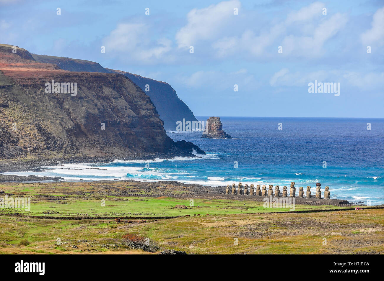 Moai statue ruins in Vaihu site, on the coast of Easter Island, Chile - Stock Image