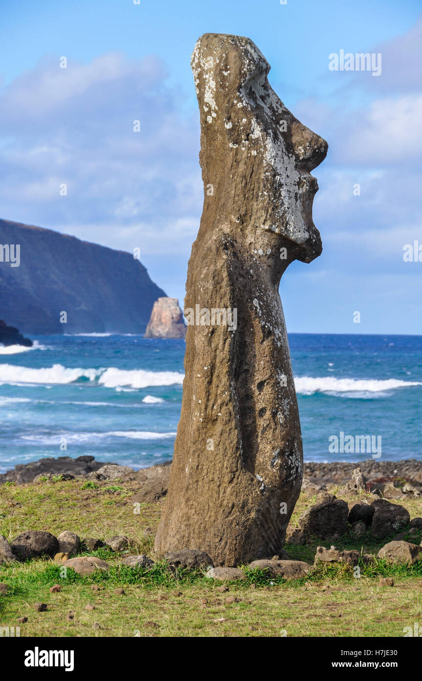 Moai statues in the Ahu Tongariki site in Easter Island, Chile - Stock Image