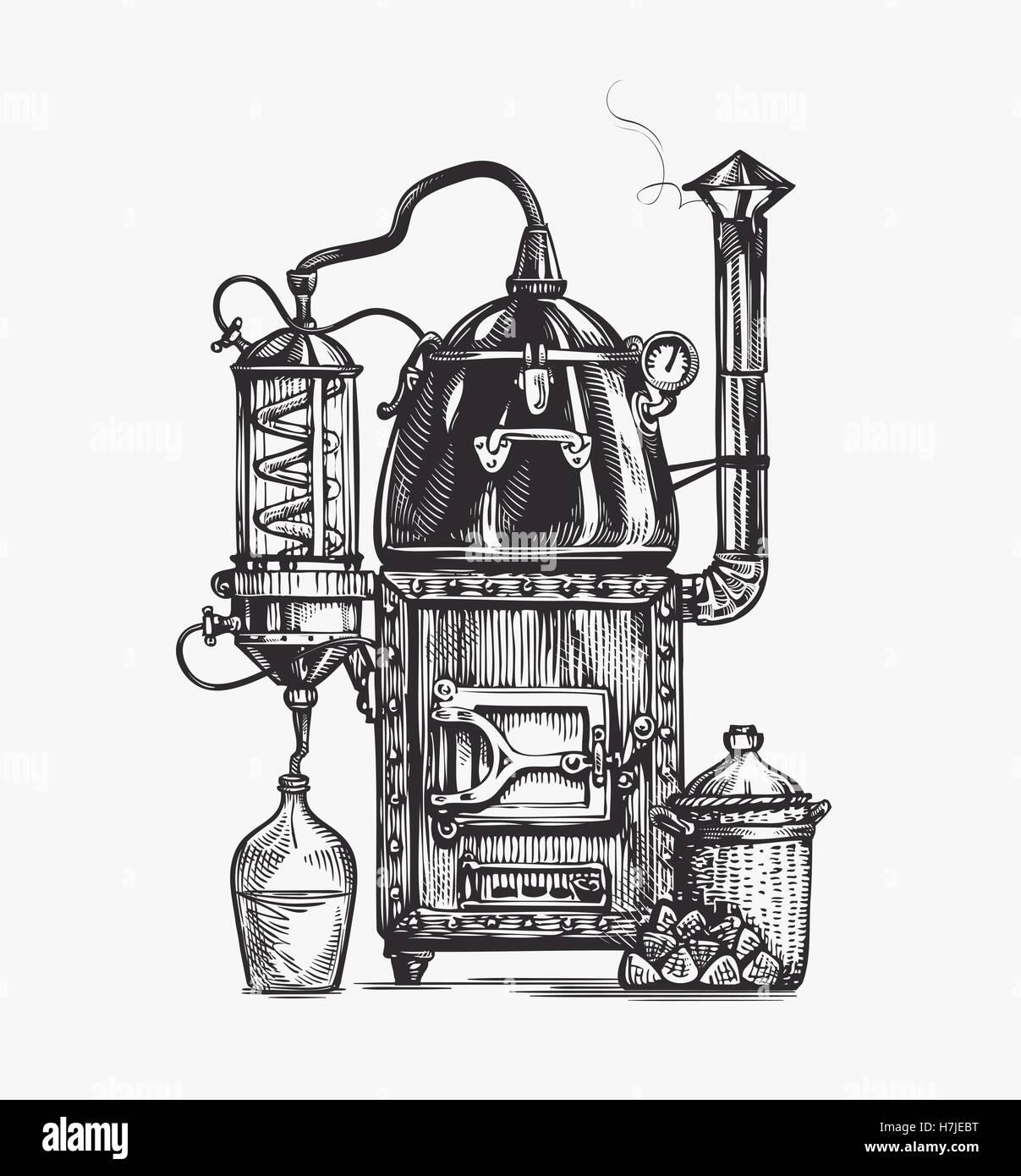 Distillation apparatus sketch. Hooch vector illustration - Stock Image