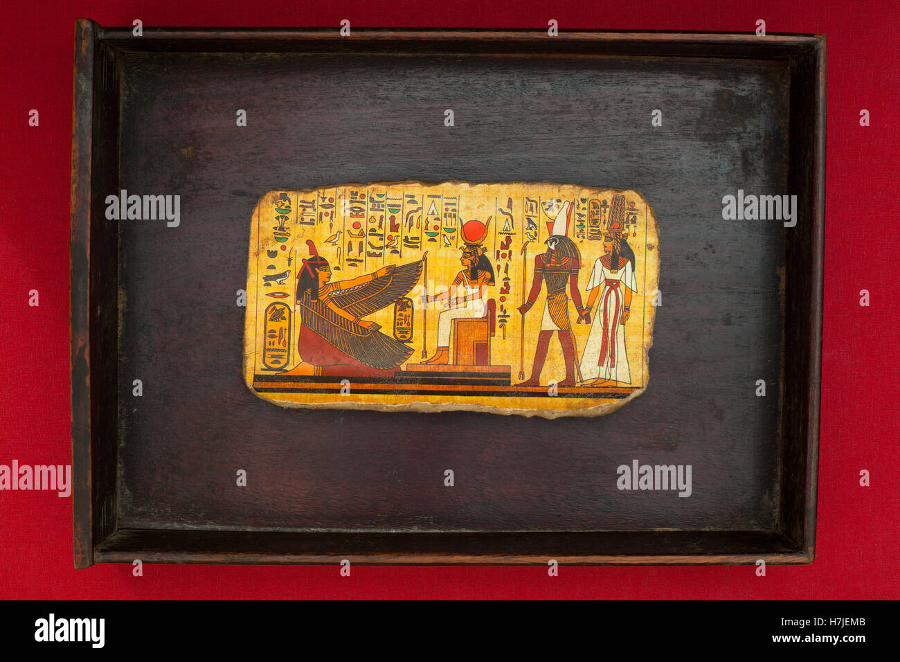 Egyptian Hieroglyphic Scene in a box frame - Stock Image