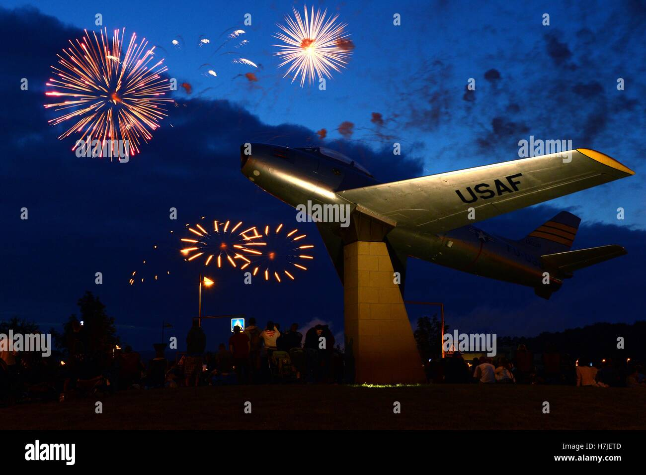 Fireworks explode in the night sky during Super Saber Appreciation Day and U.S. Independence Day at the Spangdahlem - Stock Image