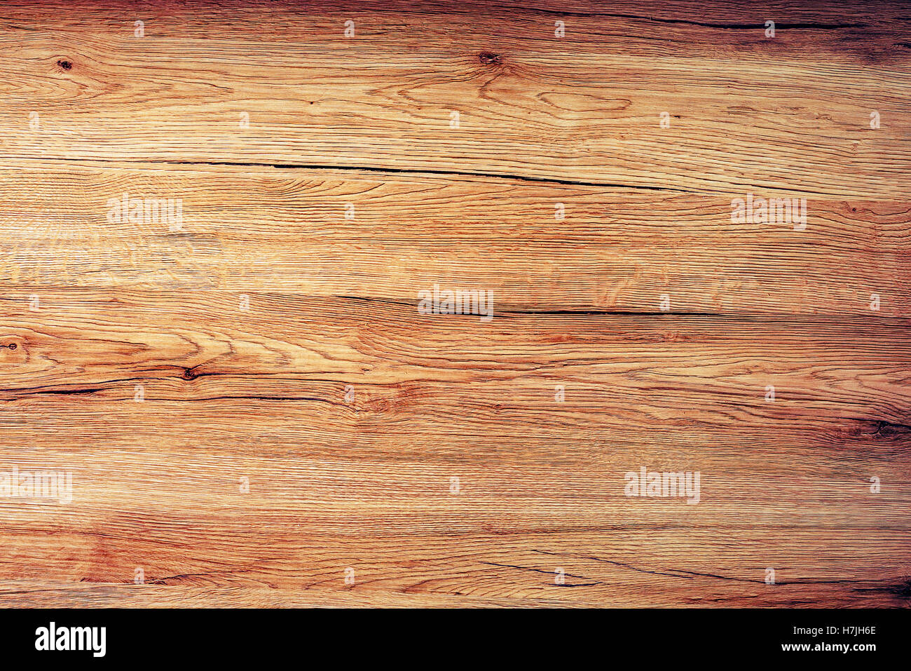 Rustic wooden board texture, table top view as background - Stock Image