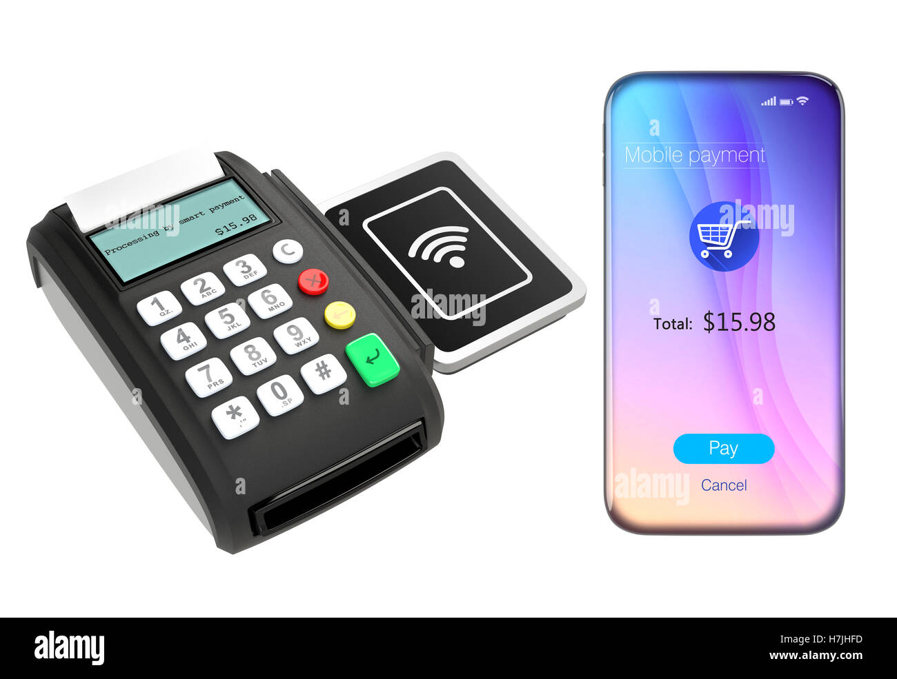 Smart phone and credit card reader with nfc scanner isolated