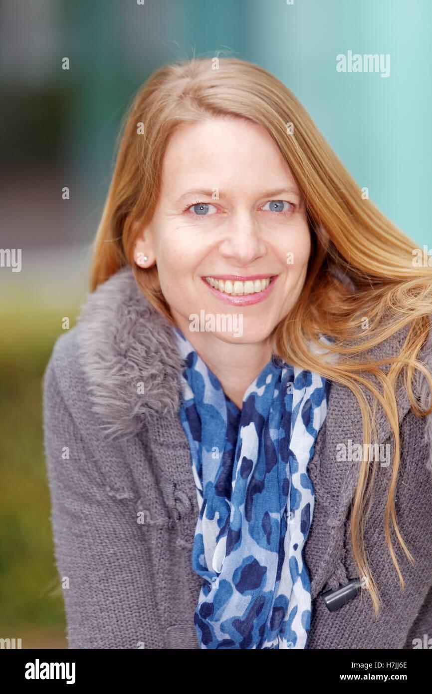 beautiful woman, autumn outdoor portrait - Stock Image