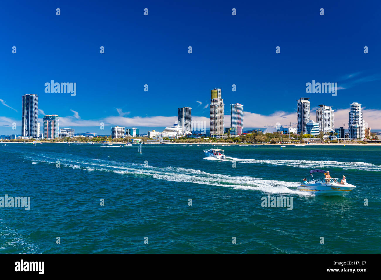 Gold Coast, AUS - SEPT 04 2016 Water sports with the view of Southport suburb, Gold Coast, Australia - Stock Image