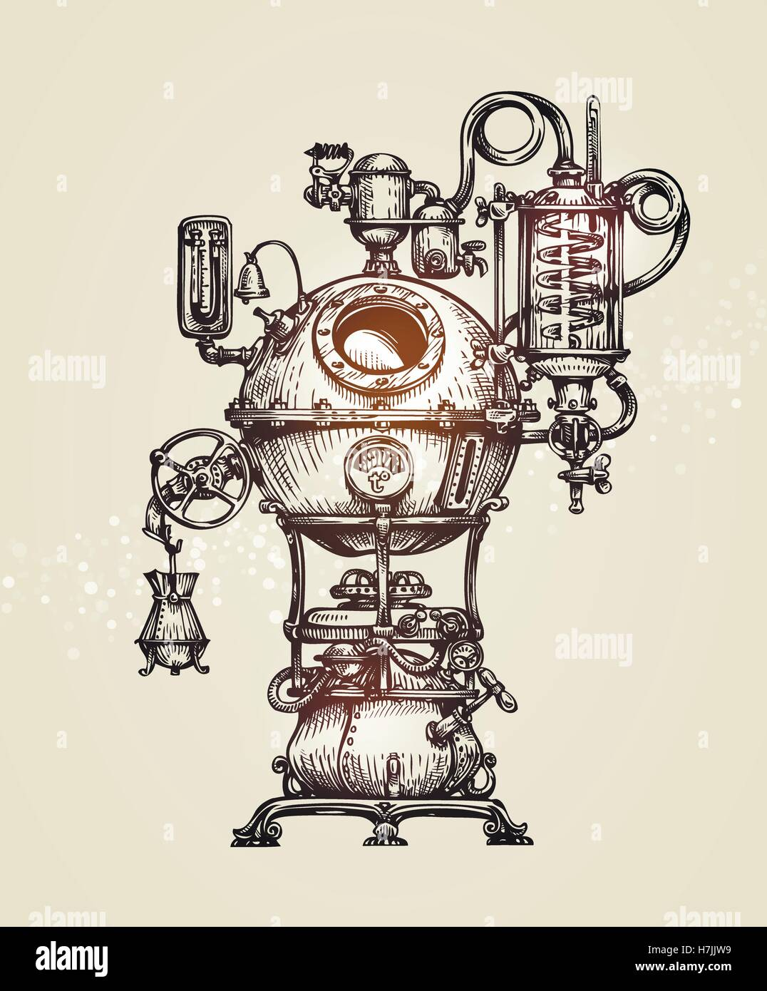 Vintage distillation apparatus sketch. moonshine vector illustration - Stock Image