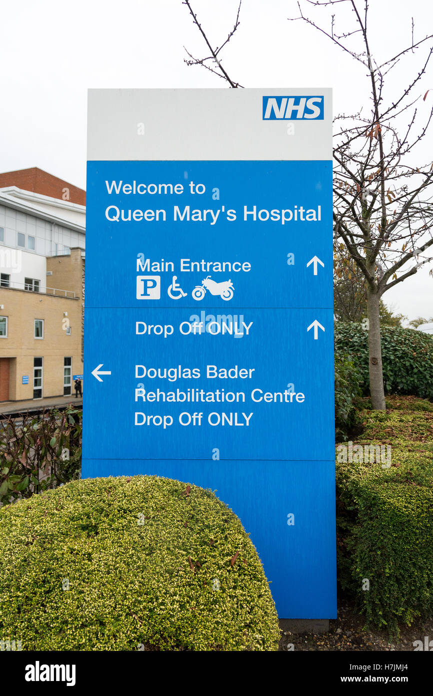 Entrance to Queen Mary's Hospital in Roehampton, London, UK - Stock Image