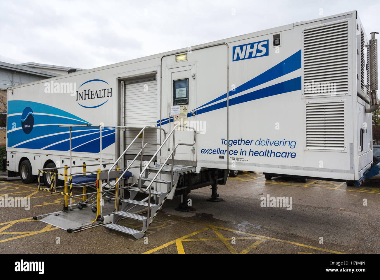 A mobile Magnetic resonance imaging scanner outside Queen Mary's Hospital in Roehampton, SW London, England, - Stock Image