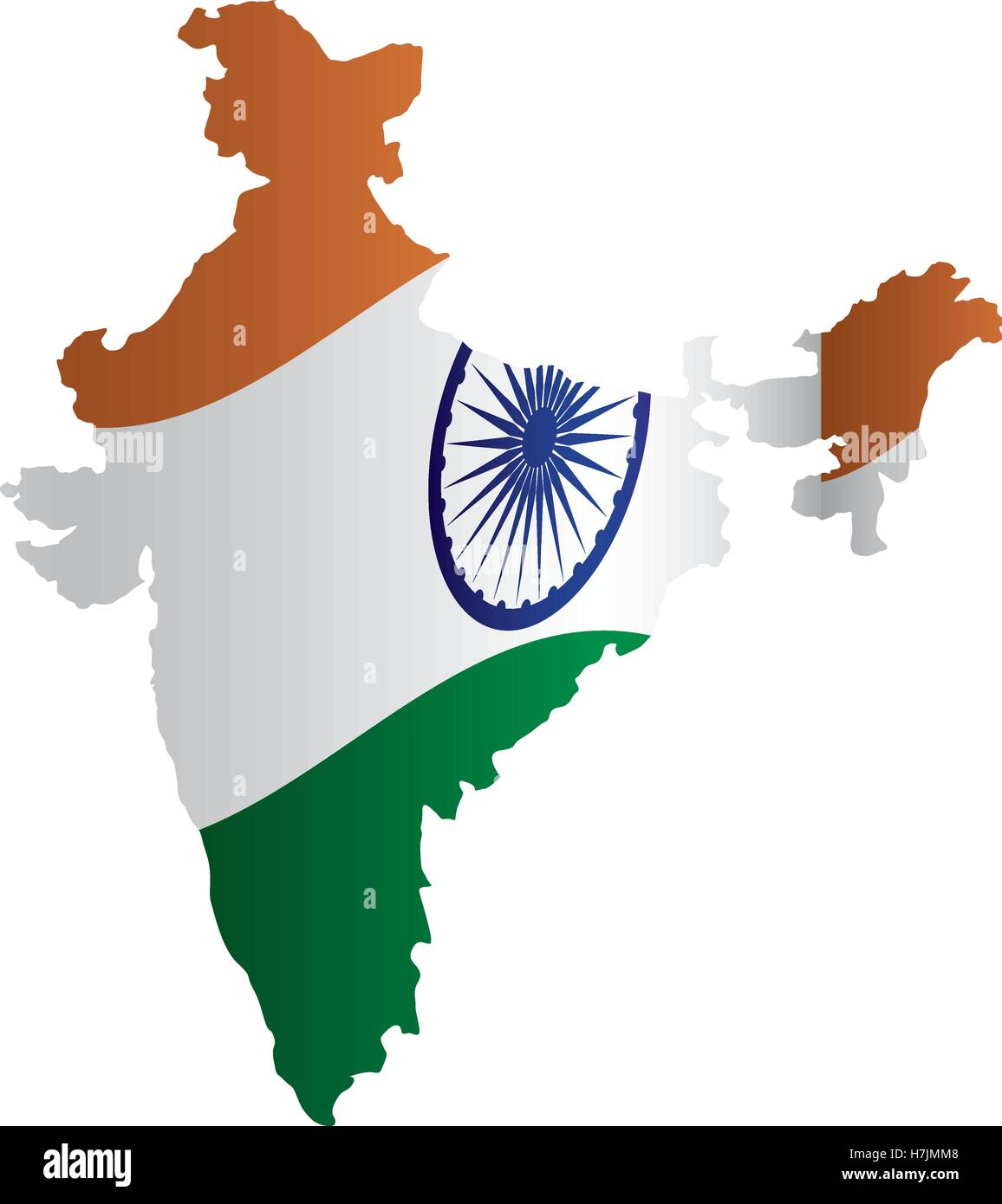 republic of india country map in flag colors icon over white Stock ...