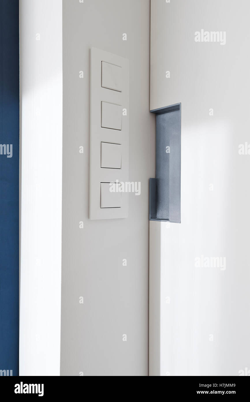 Light Switch Near A Sliding Door In A Modern Apartment   Stock Image
