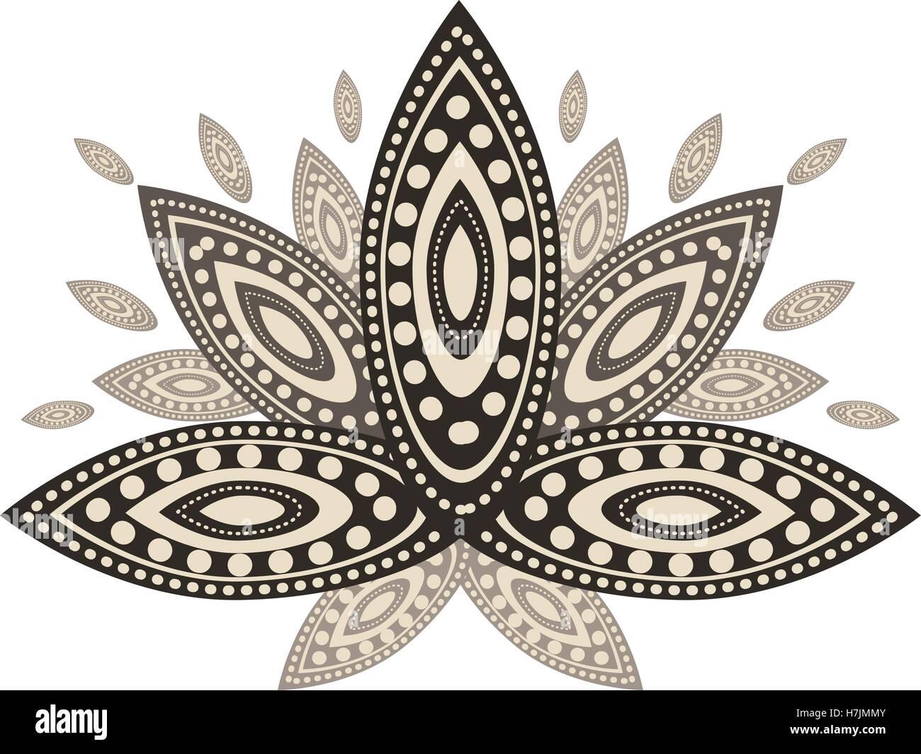 Ornamental Lotus Flower Ethnic Indian Art Over White Background