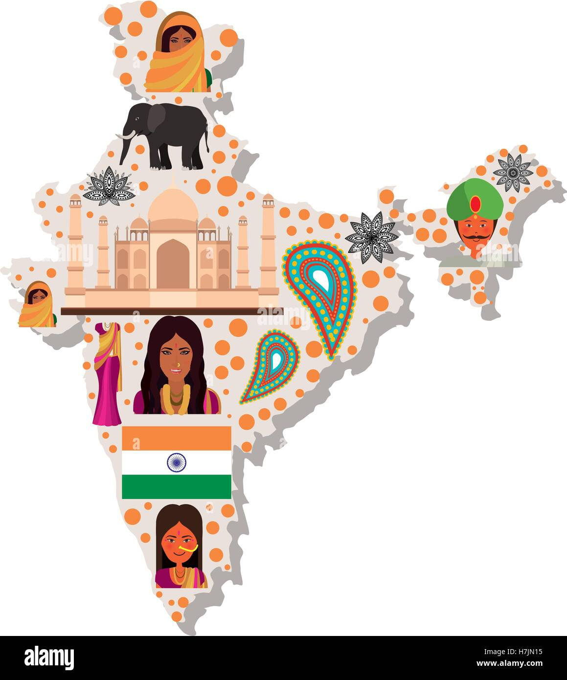 republic of india country map icon over white background. colorful ...