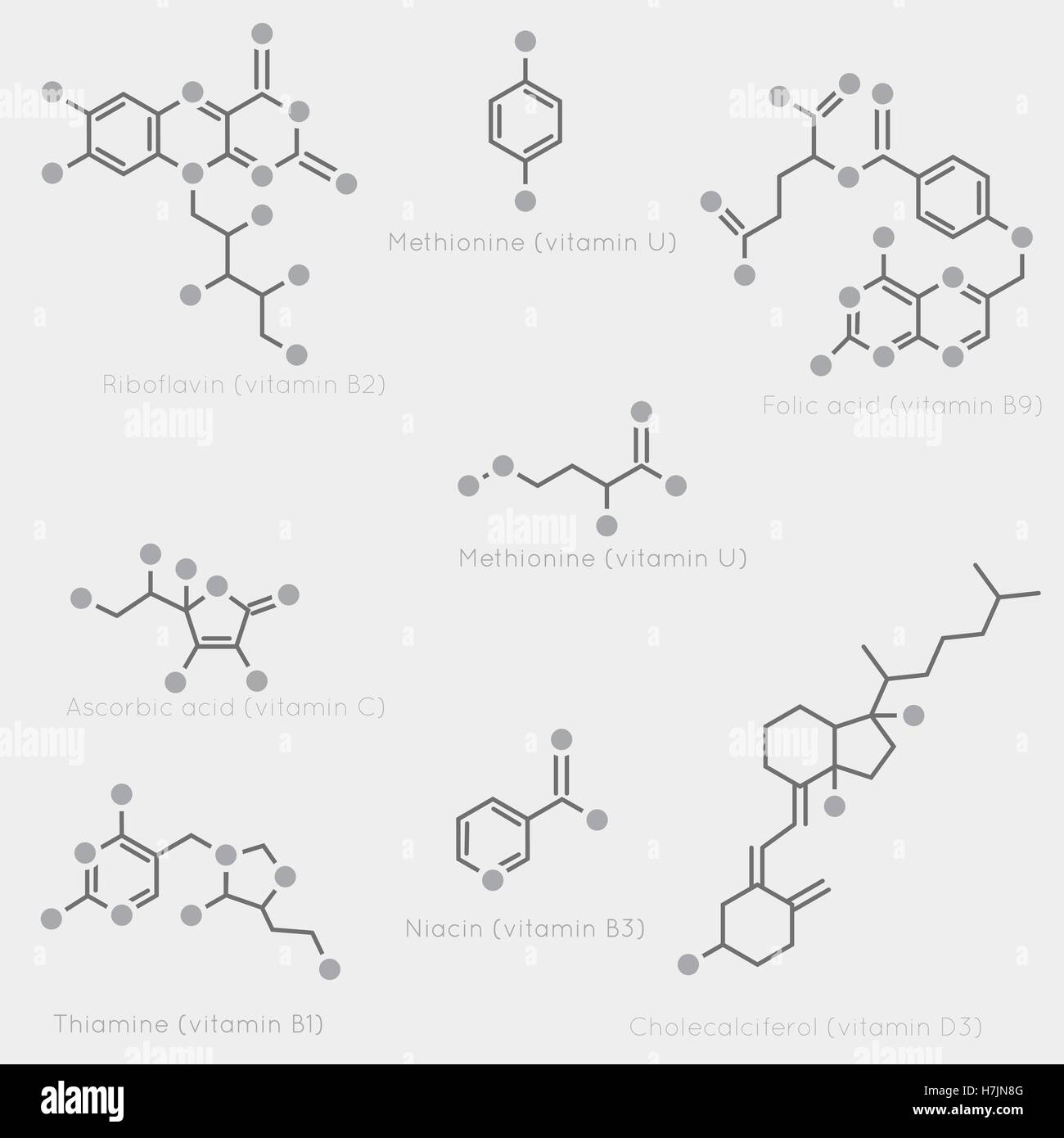 Skeletal formulas of some vitamins. Schematic image of chemical organic molecules, nutrients. - Stock Image