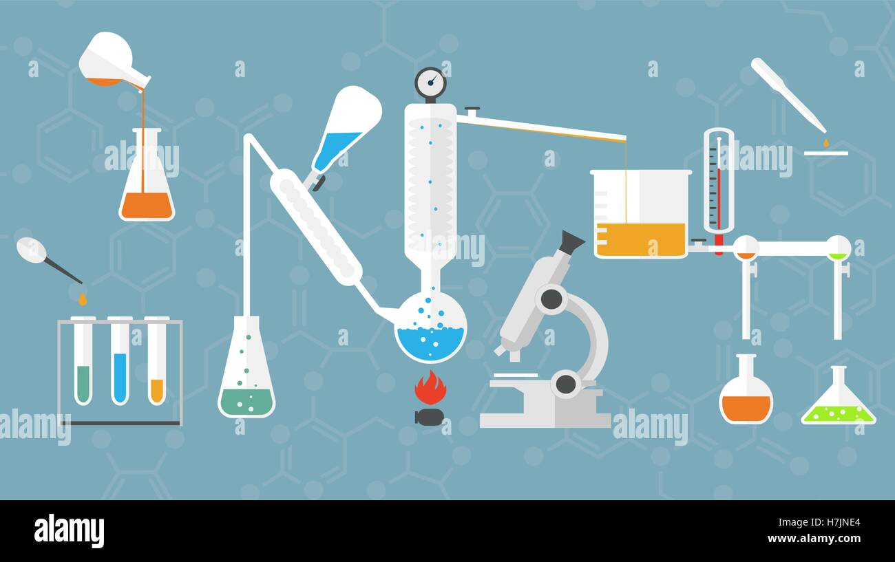 Chemical laboratory tubes and glasses, microscope, liquids and reagents. Stock Vector