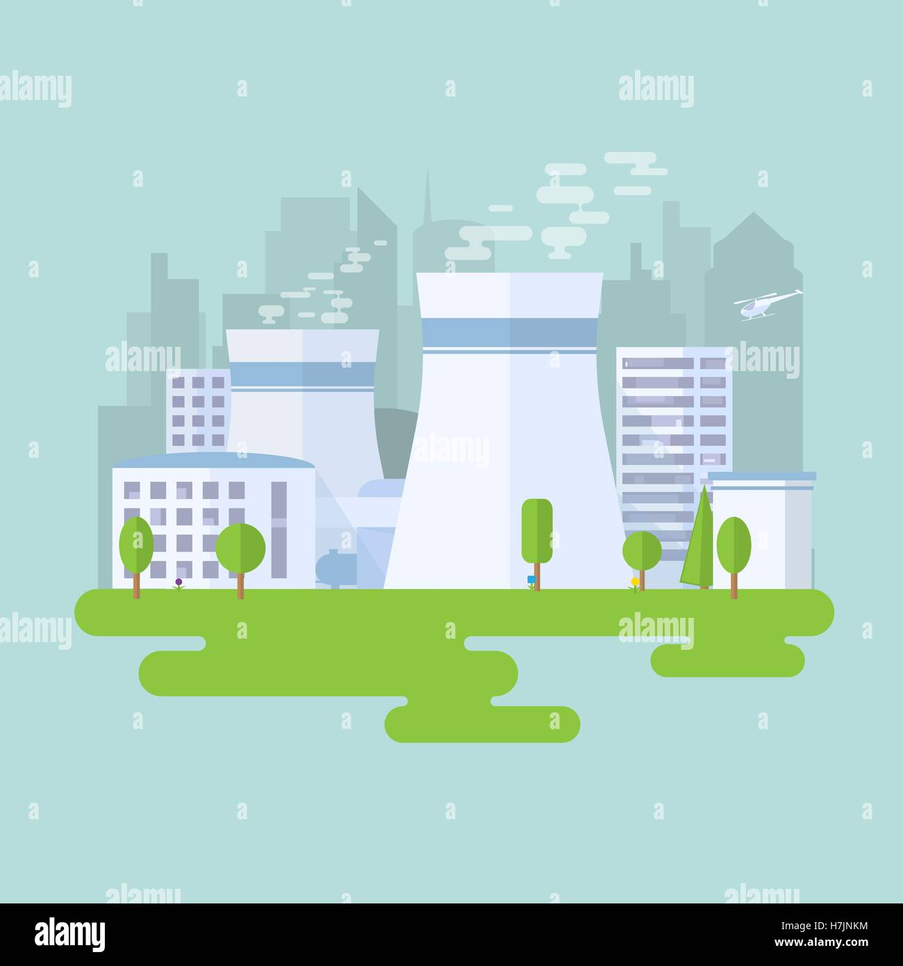 Green nuclear power plant. City buildings and skyscrapers on background. Flat vector illustration. - Stock Vector