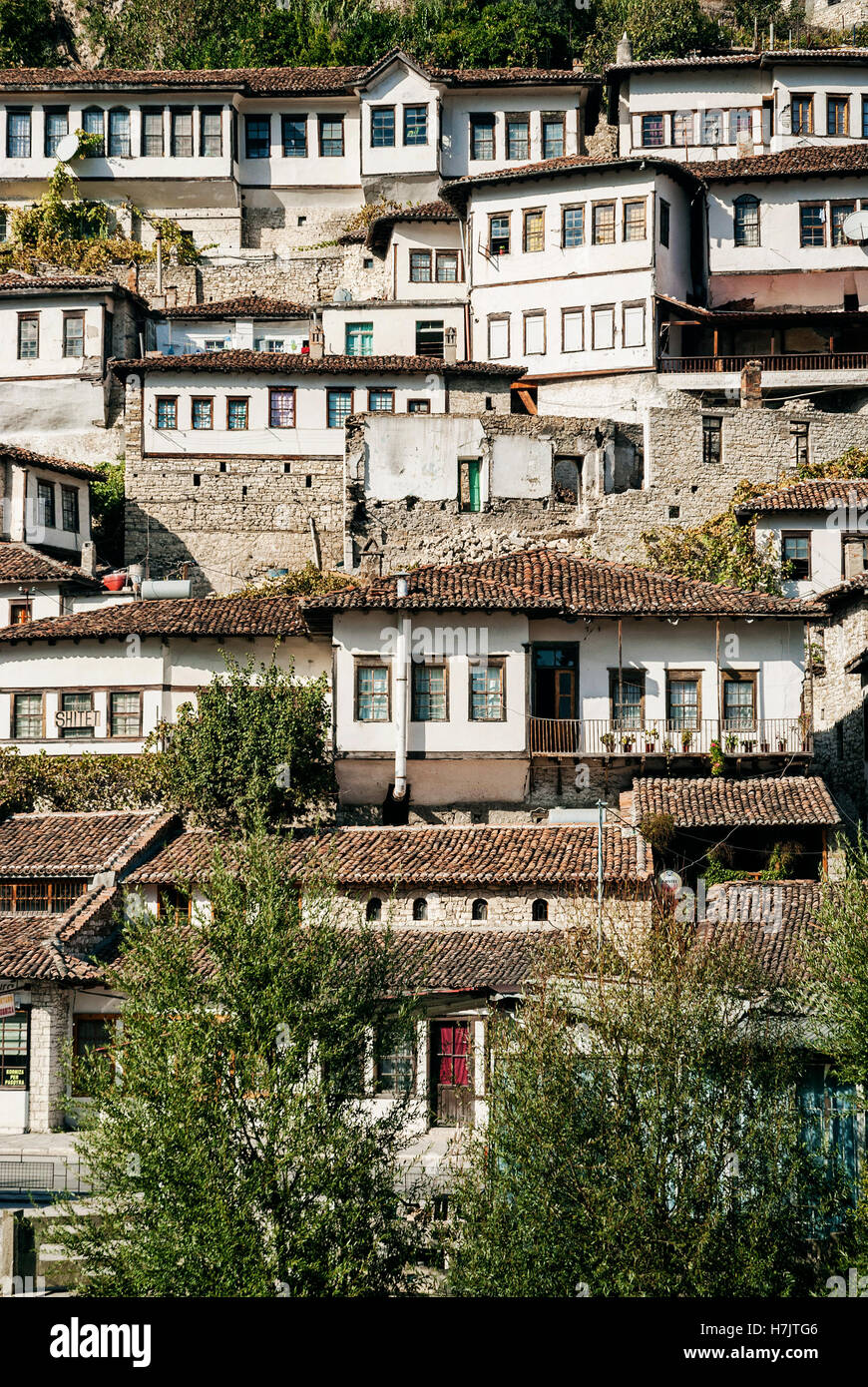 traditional balkan houses in historic old town of berat albania - Stock Image