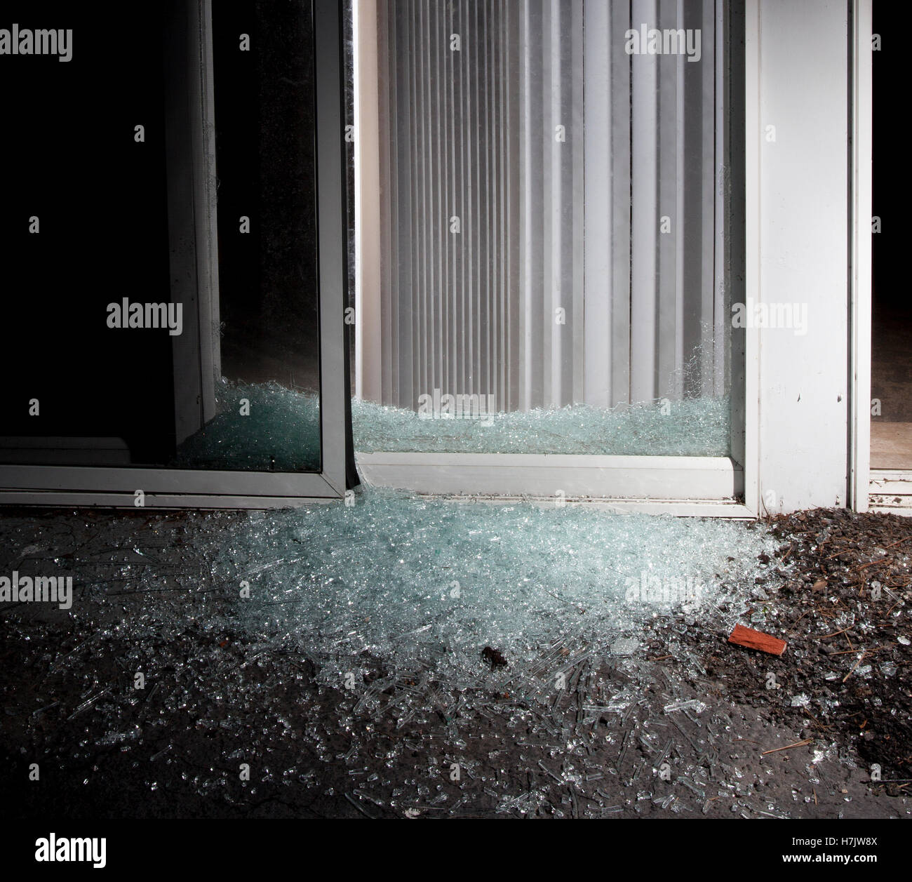 Sliding Glass Door A Criminal Shattered To Enter Home Stock Image