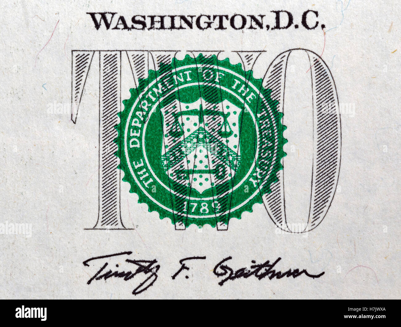 Stamp Of The Department Treasury On US Two Dollar Bill Closeup Macro