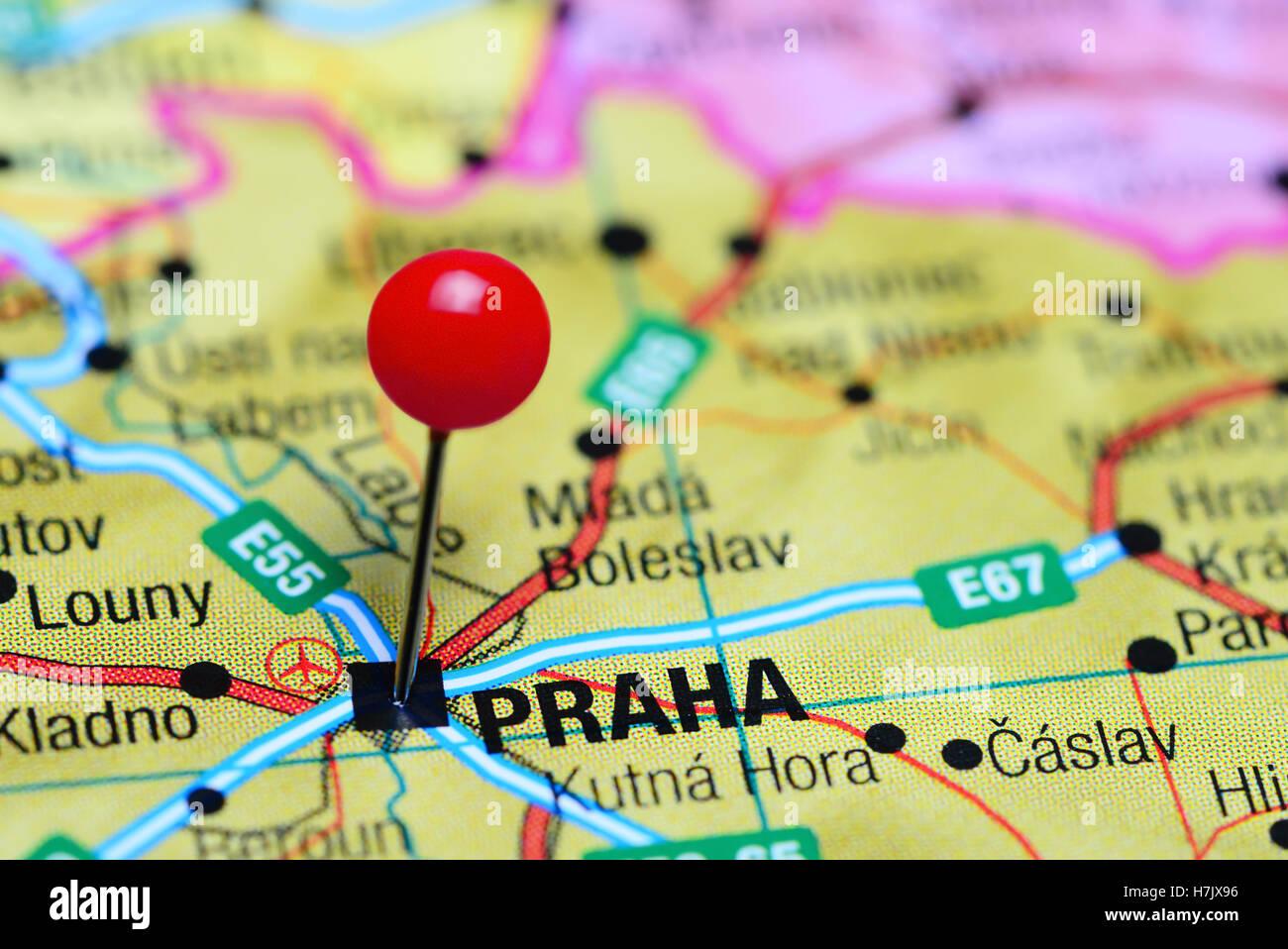 Prague Pinned On Map Europe Stock Photos & Prague Pinned On Map ...