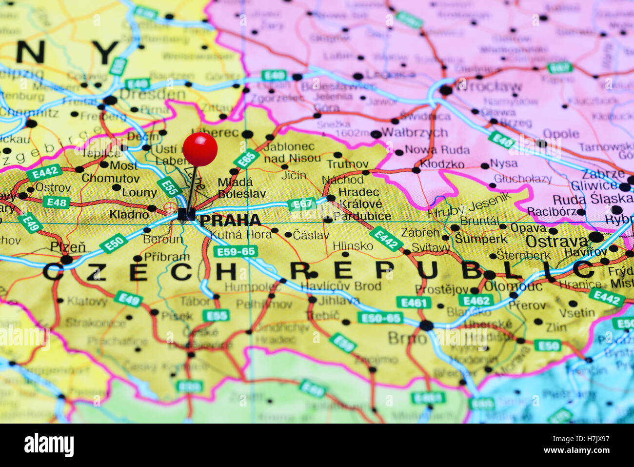 Prague Pinned On A Map Of Czech Republic Stock Photo 125190947 Alamy