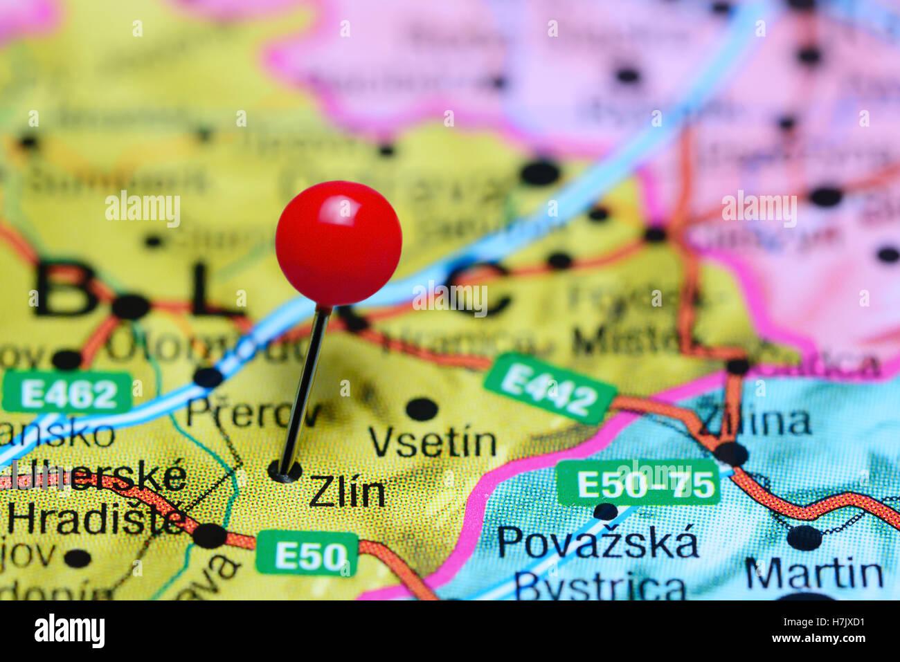 Zlin pinned on a map of Czech Republic - Stock Image