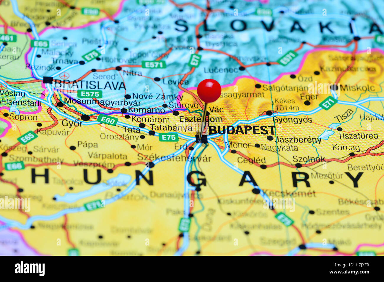 Budapest pinned on map europe stock photos budapest pinned on map budapest pinned on a map of hungary stock image gumiabroncs Image collections