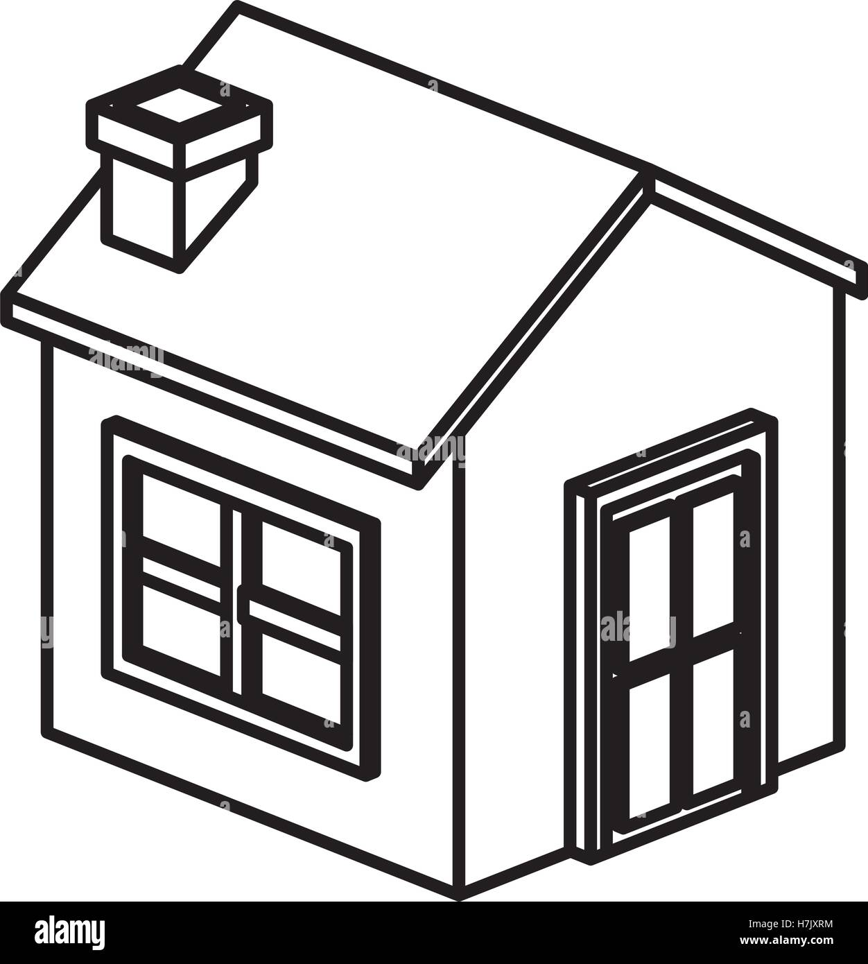 Isometric house and home building icon. Real estate construction ...