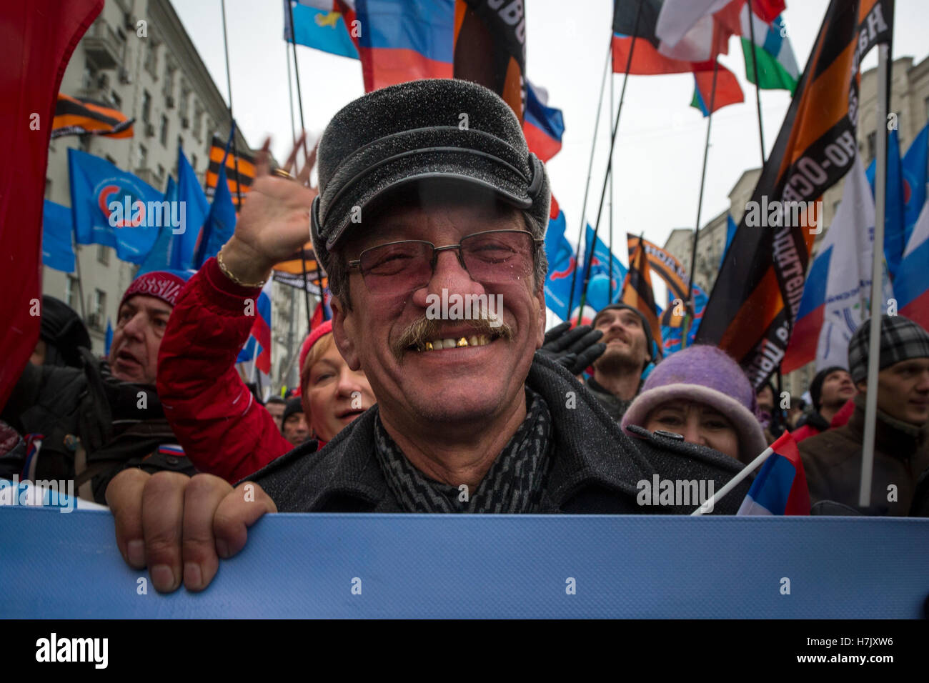 People attend the 'We Are United' march during the National Unity Day celebration in central Moscow, Russia - Stock Image
