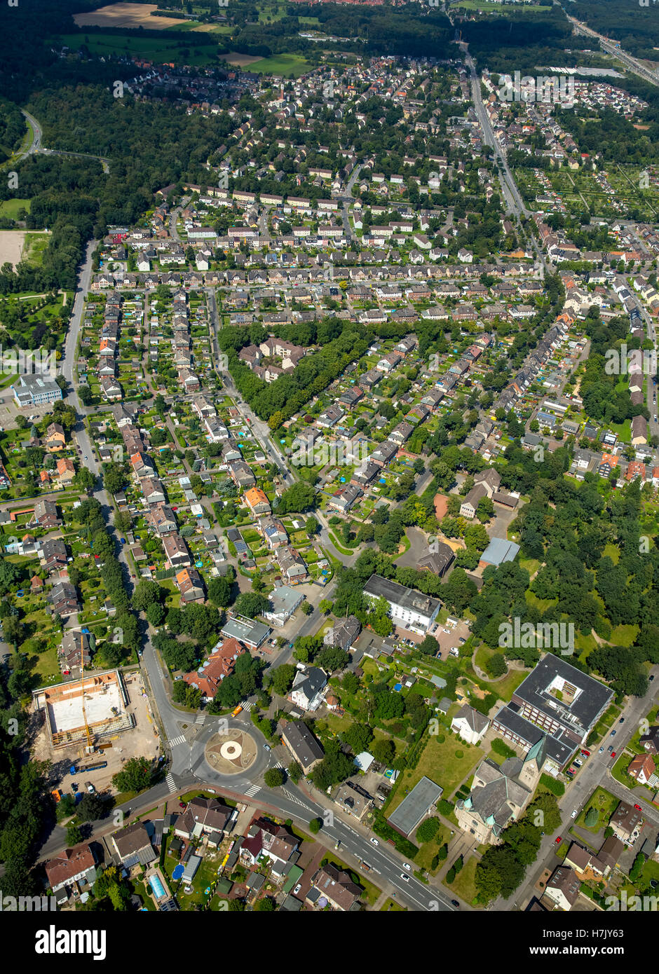 Aerial view, Recklinghausen triangle development, housing estate for mine Clerget Clara and Zeche Recklinghausen - Stock Image