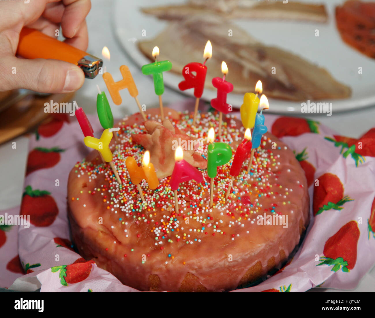 Sweet Happy Birthday Cake With Candles Letter Burning 2