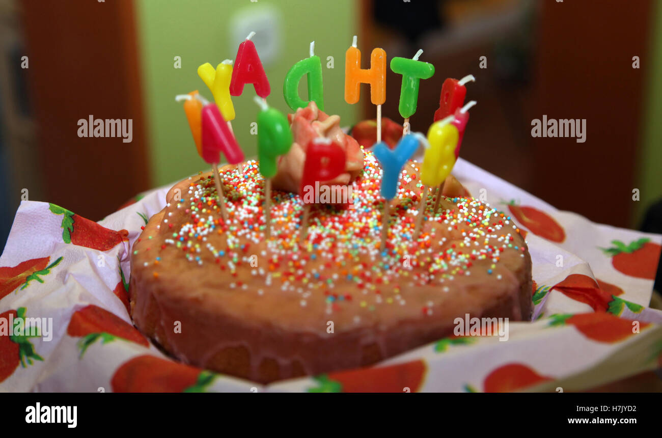 Sweet Happy Birthday Cake With Candles Letter Burning 3 Stock Photo