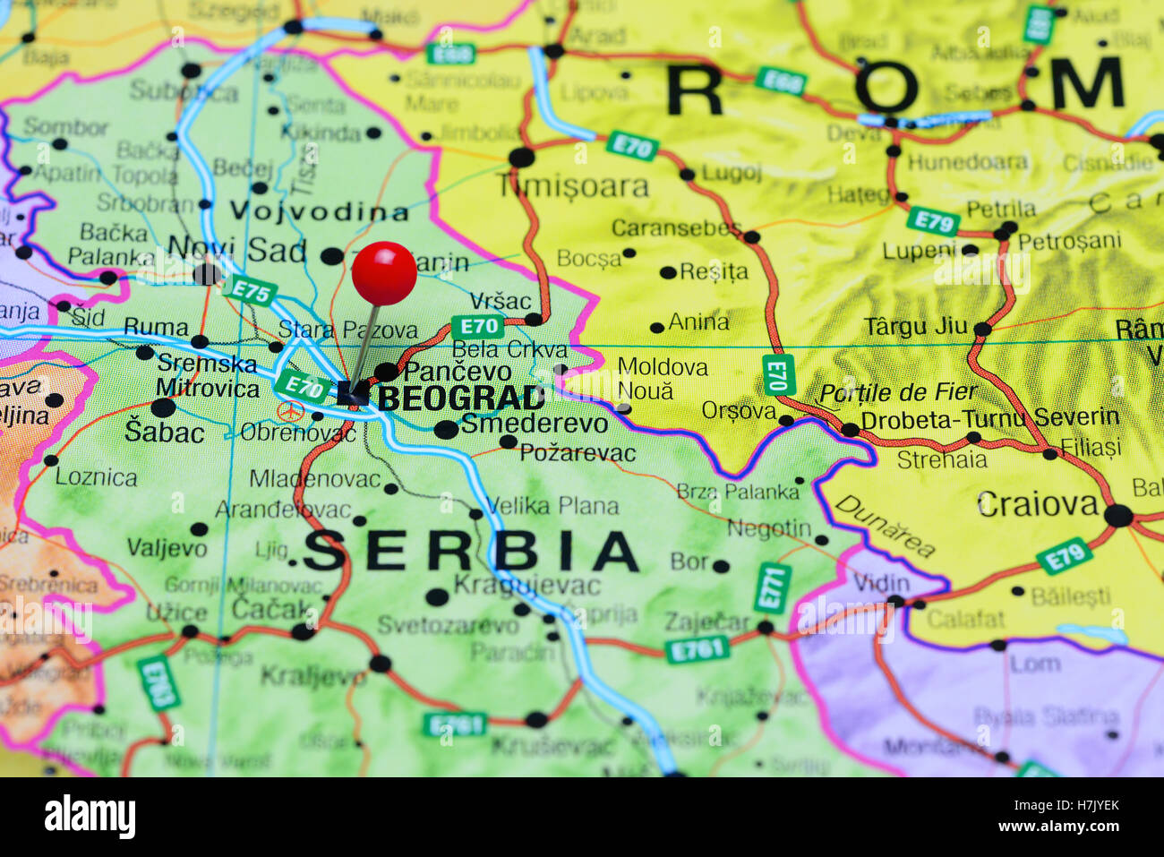 Belgrade pinned on a map of Serbia Stock Photo 125191883 Alamy