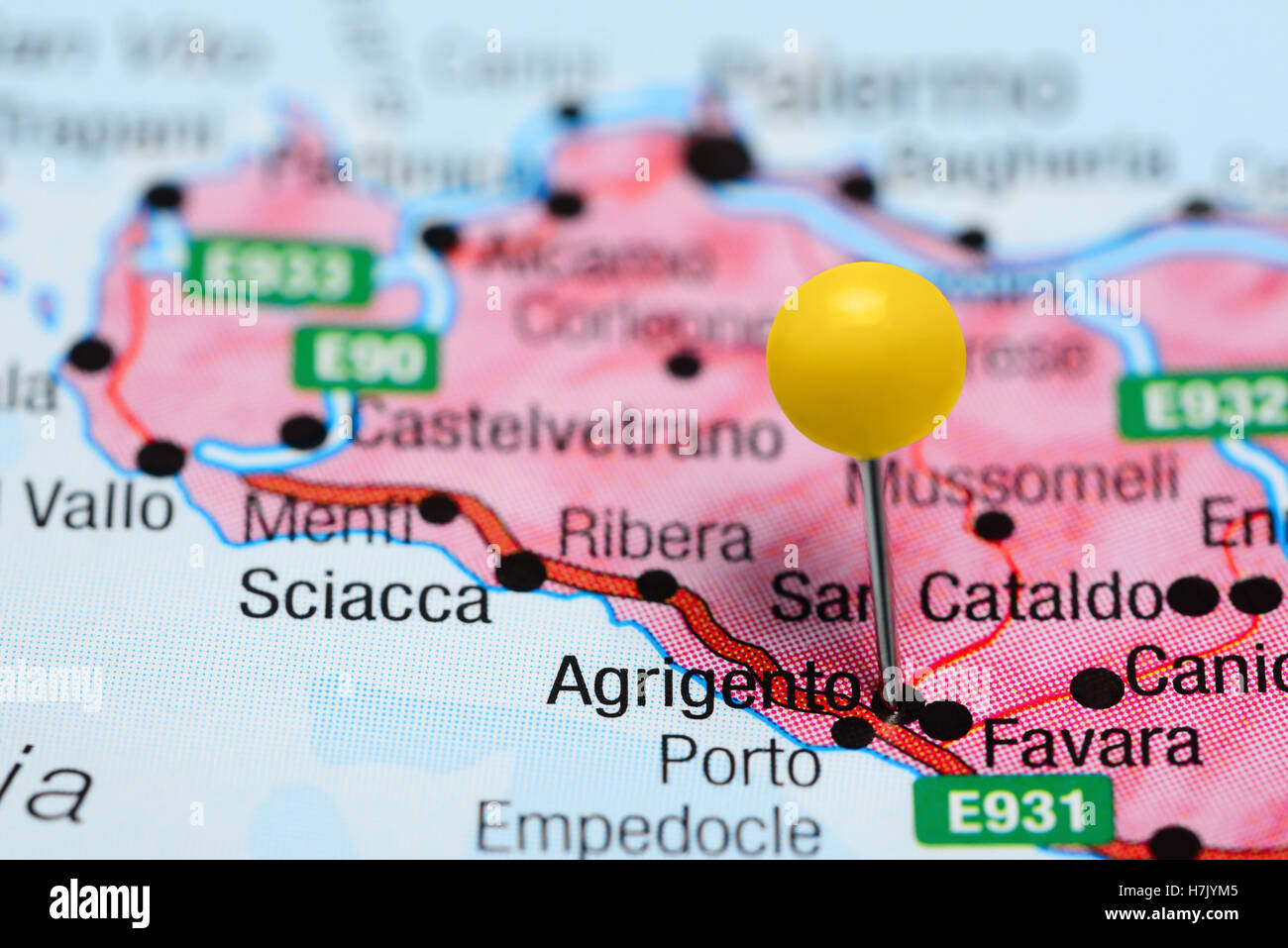 Agrigento Italy Map.Agrigento Pinned On A Map Of Italy Stock Photo 125192037 Alamy