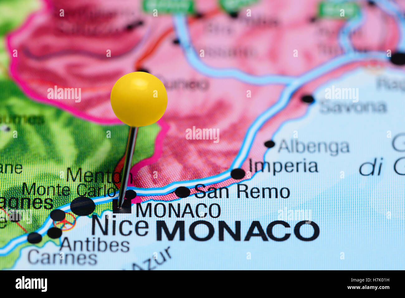 Monaco Pinned On A Map Of Europe Stock Photo 125192301 Alamy