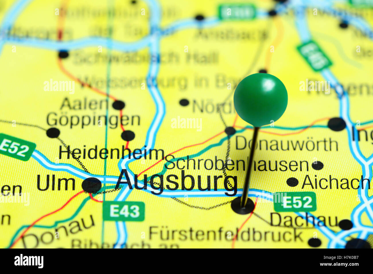 Augsburg Pinned On A Map Of Germany Stock Photo 125192571 Alamy