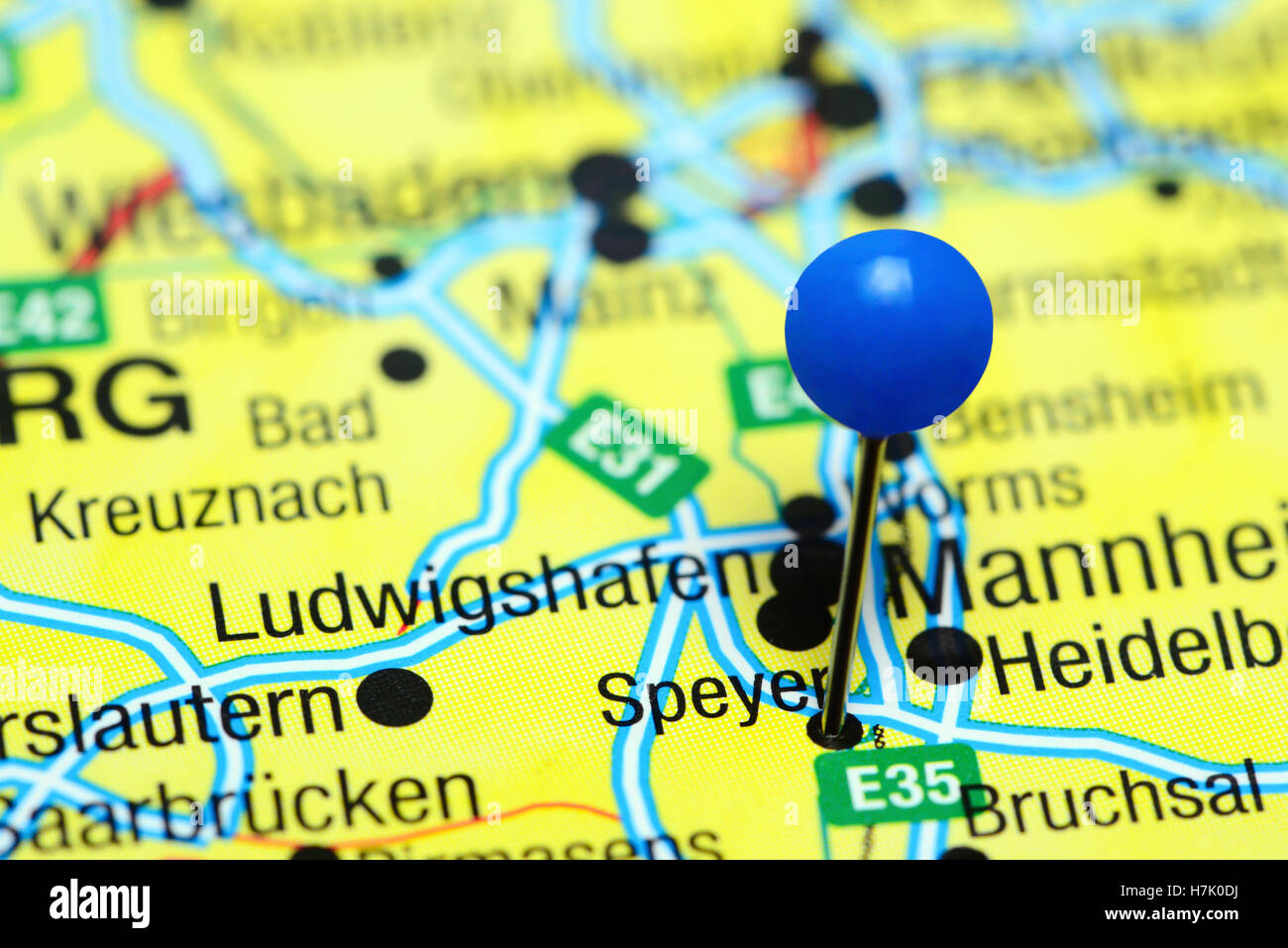 Speyer Pinned On A Map Of Germany Stock Photo 125192638 Alamy