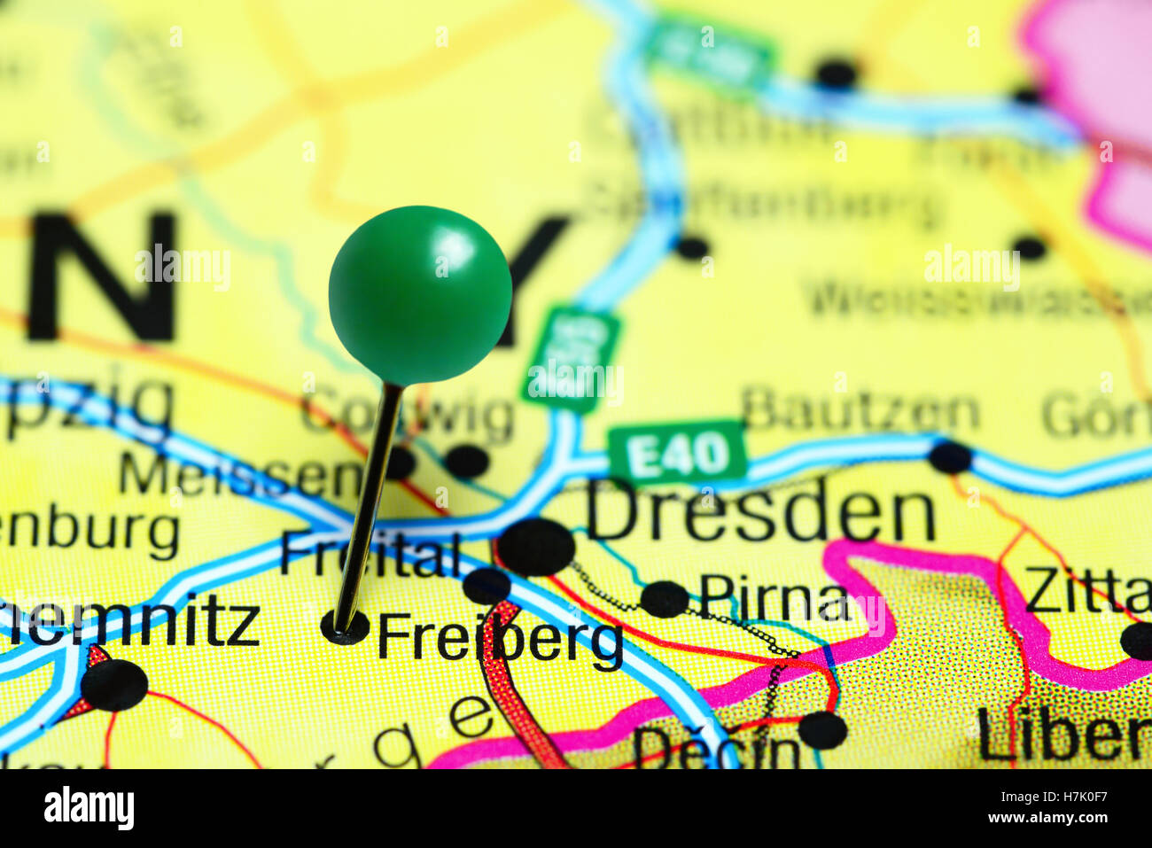 Freiberg pinned on a map of Germany - Stock Image