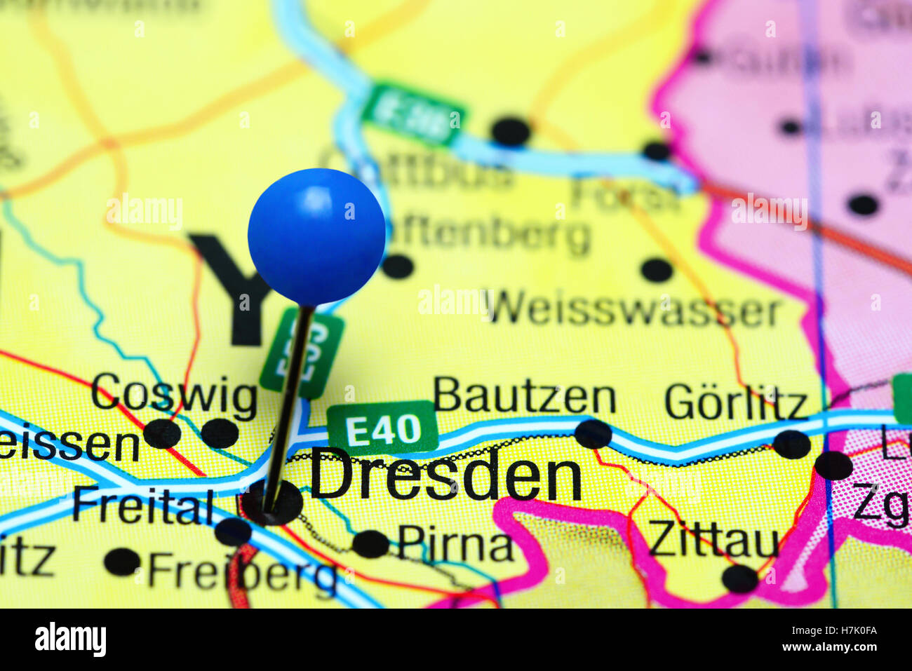 Dresden On Map Of Germany.Dresden Pinned On A Map Of Germany Stock Photo 125192686 Alamy