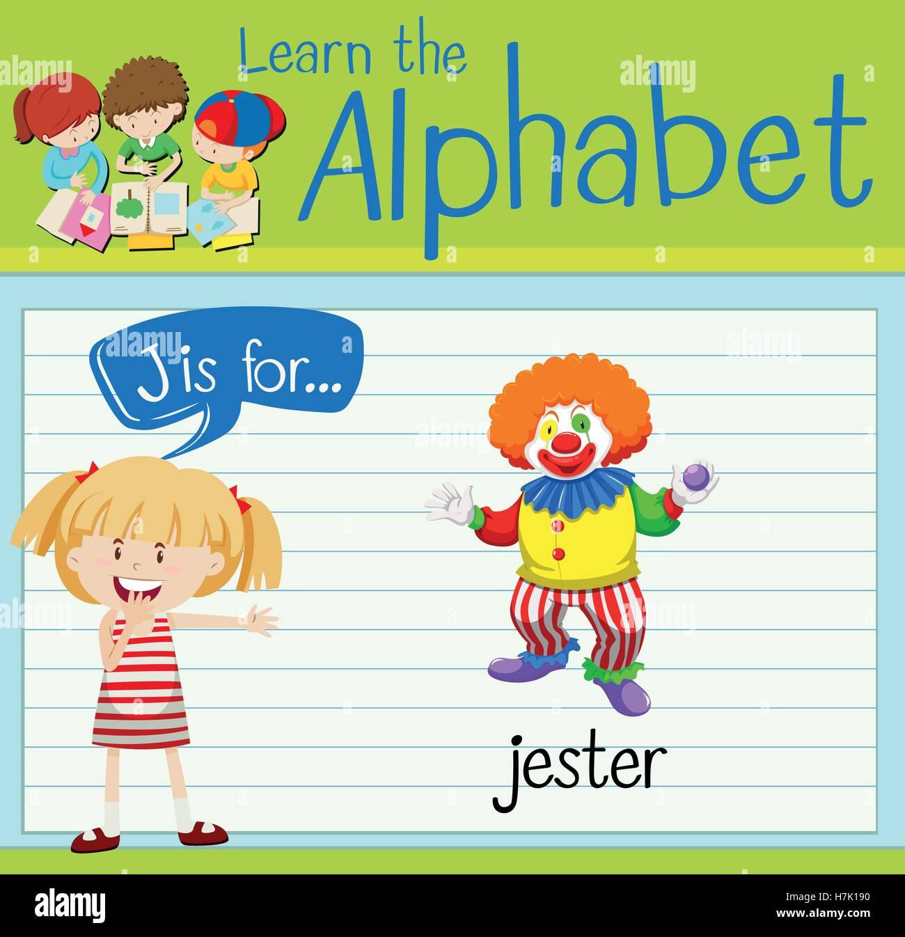Flashcard alphabet J is for jester illustration - Stock Vector