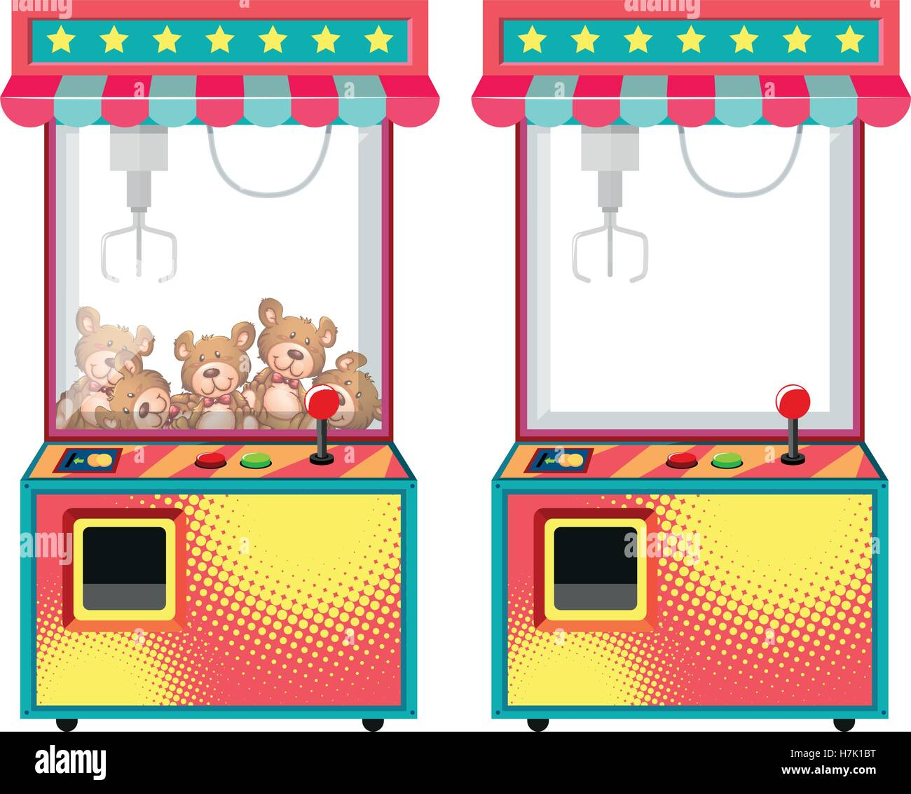 Arcade game machines with dolls illustration - Stock Vector