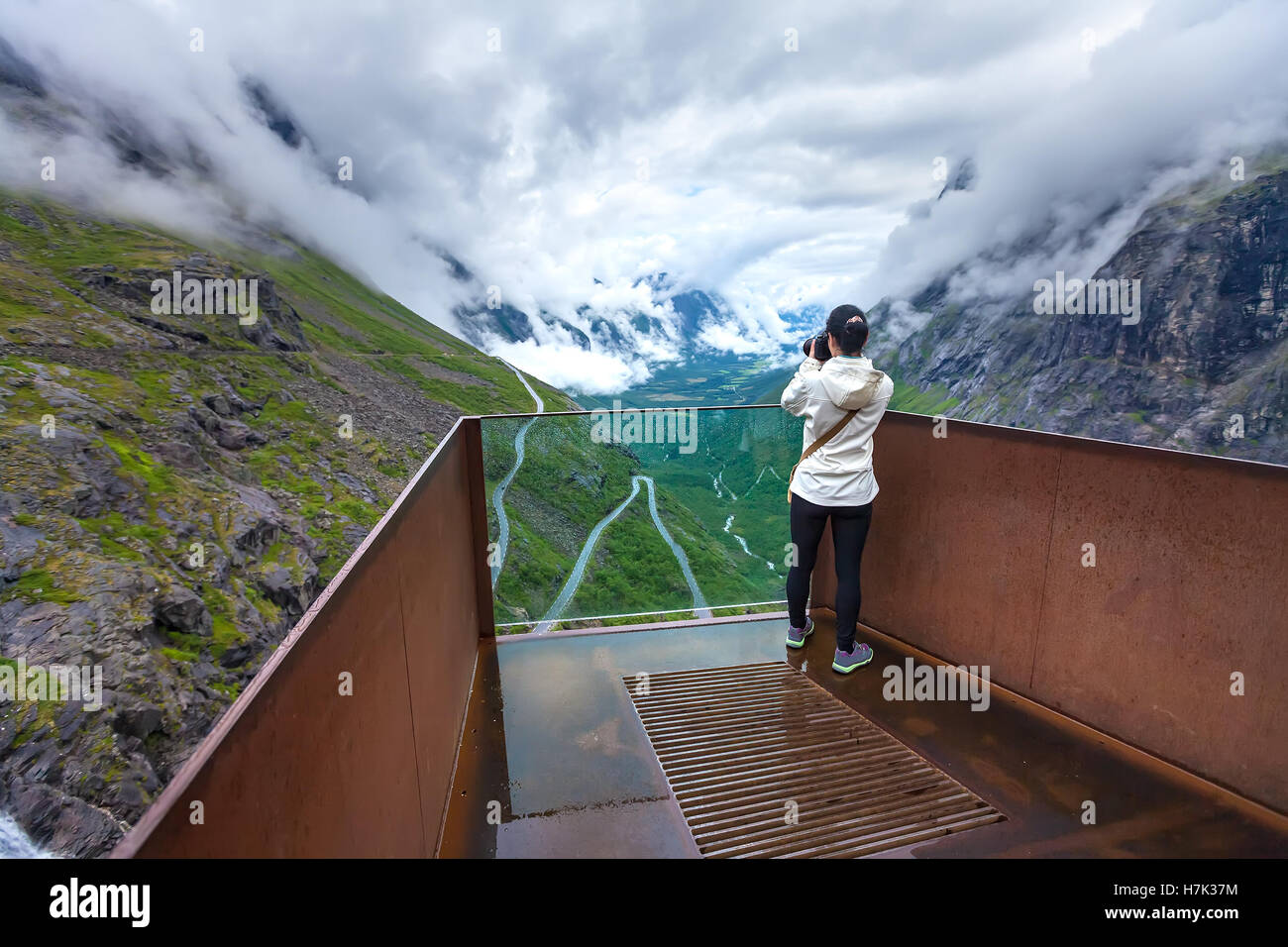 Troll road lookout observation deck view point beautiful nature norway. - Stock Image