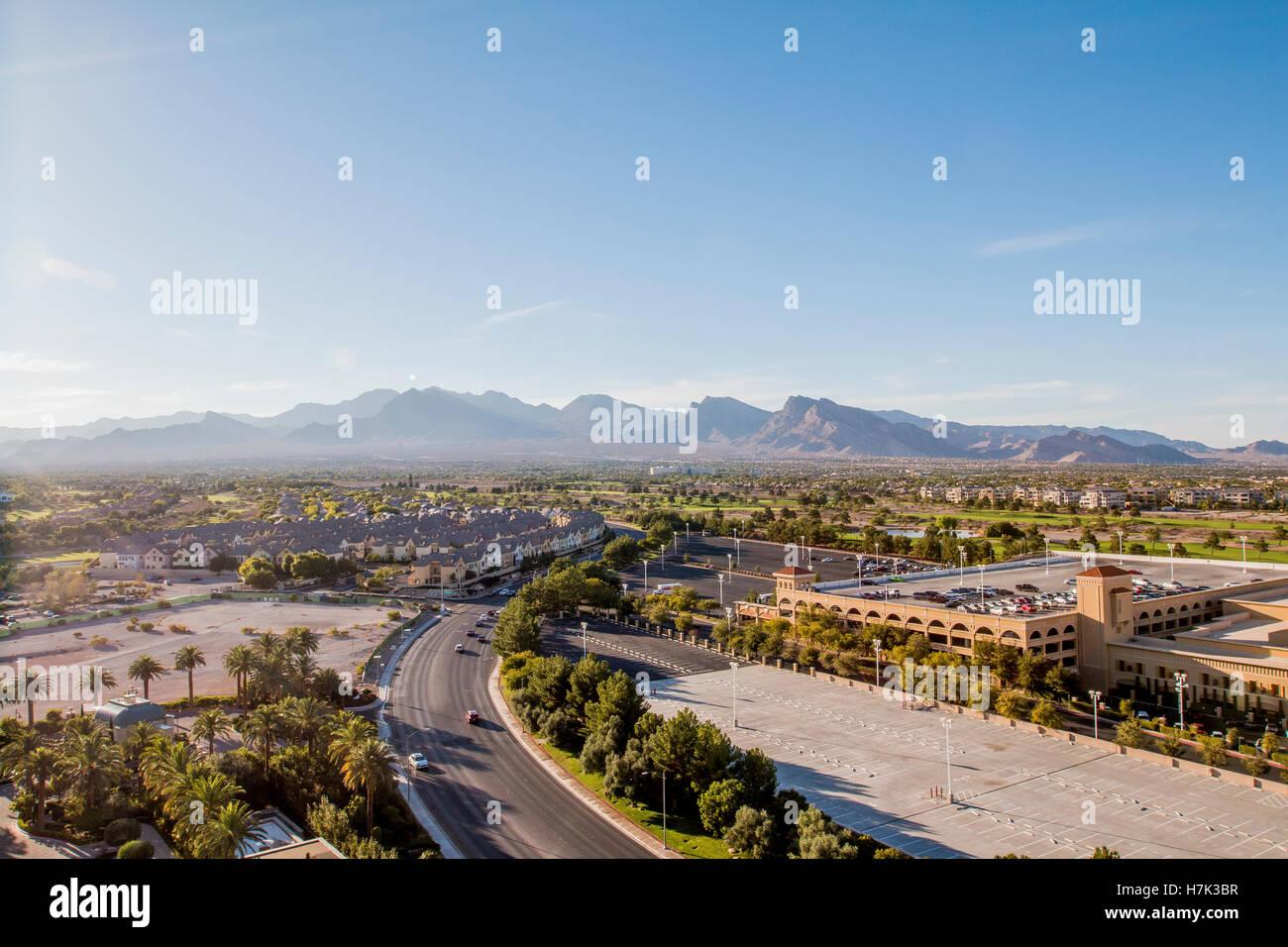 wide angle cityscape Las Vegas, Nevada, USA - Stock Image