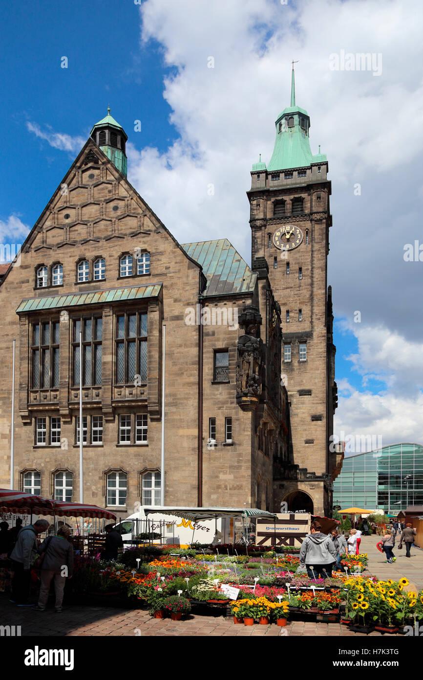 Chemnitz Neues Rathaus Neumarkt New Town Hall - Stock Image