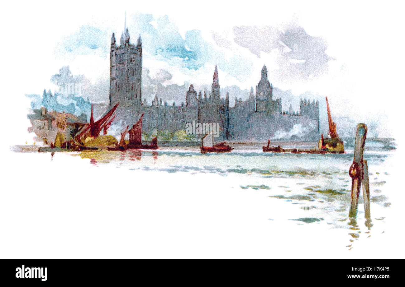 Edwardian illustration of the Palace of Westminster and the River Thames - Stock Image