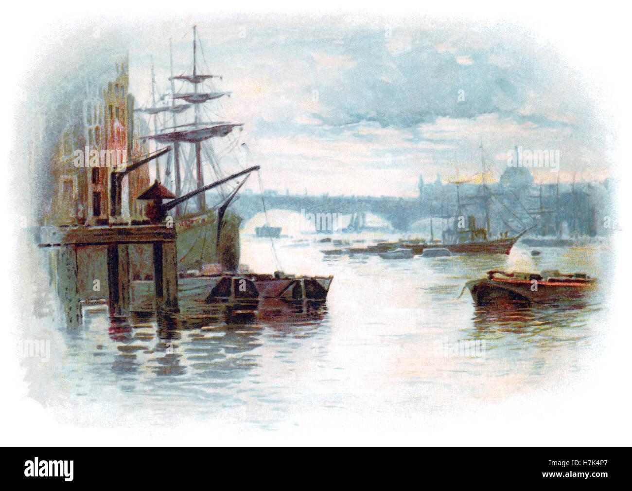 Edwardian illustration of the River Thames and London Bridge - Stock Image